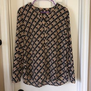 Like new Talbots  blouse taupe coral navy